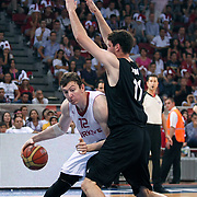 Turkey's Omer Faruk ASIK (L) during their Istanbul CUP 2011match played Turkey between New Zeland at Abdi Ipekci Arena in Istanbul, Turkey on 24 August 2011. Photo by TURKPIX
