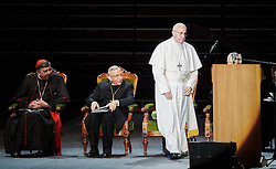 October 31, 2016 - Malm√, Sweden - Cardinal Kurt Koch, Bishop Munib A. Younan, President of Lutheran World Federation, Pope Francis,  are seen on stage during the 'Together in Hope' event at Malmo Arena on October 31, 2016 in Malmo, Sweden. The Pope is on 2 days visit attending Catholic-Lutheran Commemoration in Lund and Malmo.  (Credit Image: © Aftonbladet/IBL via ZUMA Wire)