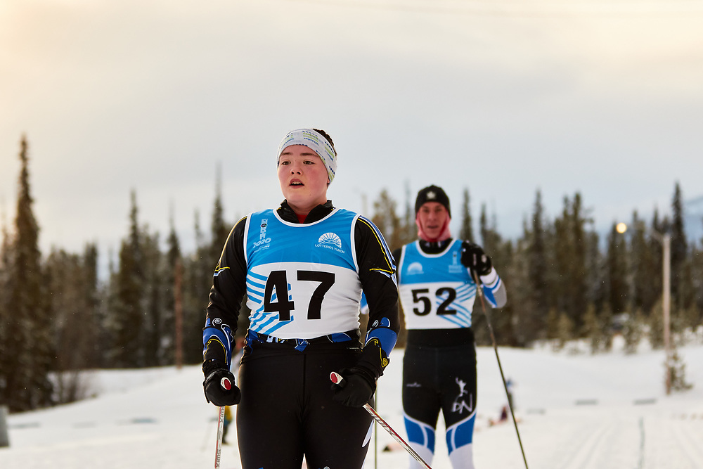 Isla Hupe (U18 Girl) skis during the 2020 Don Sumanik Ski Race (classic style) at the Mount McIntyre Recreation Centre, December 6, 2020.
