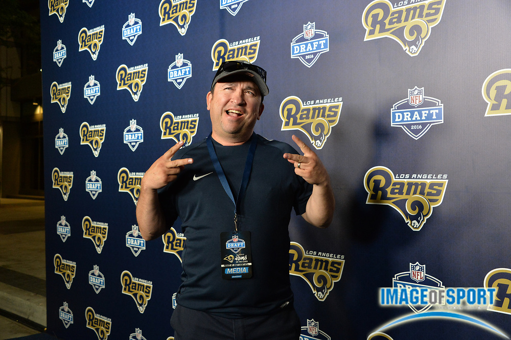Los Angeles Rams fan Juan Eduardo Ruvalcaba poses during a 2016 NFL football draft party Thursday, April 28, 2016 in Los Angeles. The Rams selected California quarterback Jared Goff with the No. 1 pick in the NFL draft. Photo by Ed Ruvalcaba