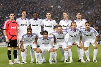 Fotball<br /> UEFA Champions League<br /> 03.10.2007<br /> Foto: Inside/Digitalsport<br /> NORWAY ONLY<br /> <br /> Lazio v Real Madrid 2-2<br /> <br /> Real Madrid Team:<br /> Up: Iker Casillas, Ruud Van Nistelrooy, Mahamadou diarra, Sergio Ramos, Guti, Gabriel heinze<br /> Bottom: Marcelo, Raul Gonzalez, Wesley Sneijder, Arjen Robben, Fabio Cannavaro<br /> Lagbilde Real Madrid