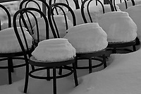 Lonly Chairs in the snow at the Trondenes Museum & Historical center in Harstad. Images taken with a Nikon D2xs camera and 50 mm f/1.4 lens (ISO 200, 50 mm, f/1.4, 1/50 sec)