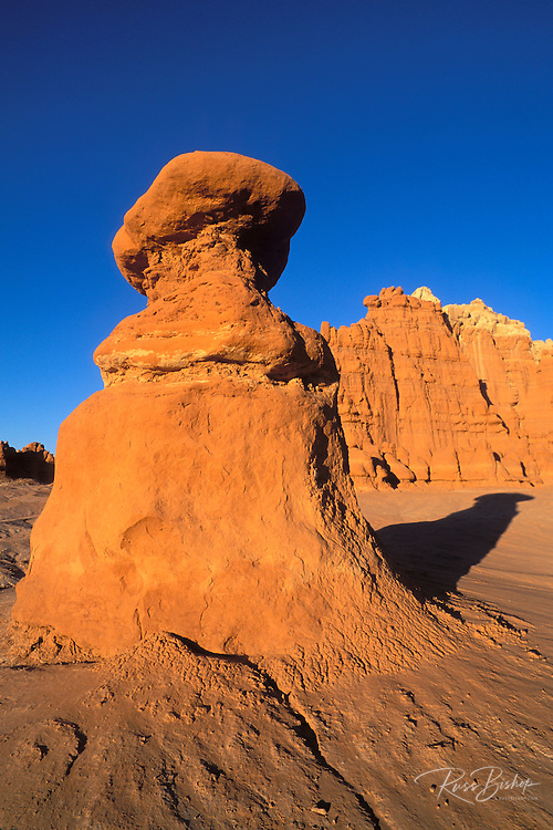 Evening light on eroded rock formations at Goblin Valley, Goblin Valley State Park, Utah