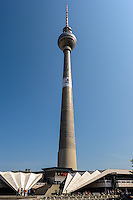 Berlin, Germany. The Fernsehturm was constructed between 1965 and 1969 in former East Germany.