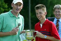 LEUSDEN -  Winnaar Joost Steenkamer met Bernard van Geelkerken.   Stern Open 2003 op de Hoge Kleij. COPYRIGHT KOEN SUYK
