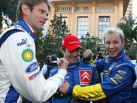Motor<br /> Foto: Dppi/Digitalsport<br /> NORWAY ONLY<br /> <br /> AUTO - WRC 2006 - MONTE CARLO RALLY - MONACO 20/01/2006 <br /> <br /> MARCUS GRÖNHOLM (FIN) / SEBASTIEN LOEB (FRA) / PETTER SOLBERG (NOR) - AMBIANCE - PORTRAIT