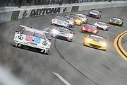 January 24-27, 2019. IMSA Weathertech Series ROLEX Daytona 24. Start of the 57th Daytona 24 #911 Porsche GT Team Porsche 911 RSR, GTLM: Patrick Pilet, Nick Tandy, Frederic Makowiecki , Brumos throwback livery