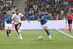 June 1, 2018 - Nice, France - Federico Chiesa (Italy, right) and Corentin Tolisso (France, left) during the friendly football match between France and Italy at Allianz Riviera stadium on June 01, 2018 in Nice, France. (Credit Image: © Massimiliano Ferraro/NurPhoto via ZUMA Press)