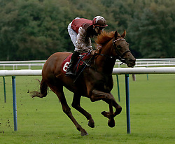 Royal Line ridden by Kieran Shoemark wins the 32Red Casino Handicap Stakes at Haydock Park Racecourse.