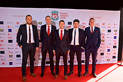 LIVERPOOL, ENGLAND - Thursday, May 10, 2018: Liverpool FC Ladies staff arrive on the red carpet for the Liverpool FC Players' Awards 2018 at Anfield. Coach Joe Potts, xxxx, manager Scott Rogers, Alan Jordan and coach Jordan Whelan. (Pic by David Rawcliffe/Propaganda)