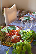 The dining room table decorated and set with flowers and decorative vegetables for dinner guests. A bowl full of vegetables Clos des Iles Chambres d'Hotes Bed and Breakfast Le Brusc Six Fours Cote d'Azur Var France