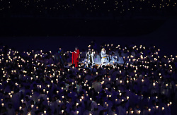 Performers sing a cover of John Lennon's Imagine during the Opening Ceremony of the PyeongChang 2018 Winter Olympic Games at the PyeongChang Olympic Stadium in South Korea.