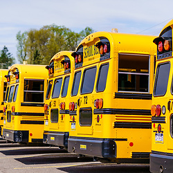 Mohnton, PA / USA - May 2, 2020: A rear view of a line of parked school buses in a lot in Berks County, Pennsylvania.