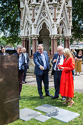 London, UK. 6 June, 2019. Lord Pickles and Ed Balls, co-chairs of the UK Holocaust Memorial Fund, select bronze and limestone for the UK Holocaust Memorial and Learning Centre in Victoria Tower Gardens beside Parliament with Lucy Tilley, Associate Principal of Adjaye Associates architects. The Prime Minister recently led cross-party support for the new memorial.