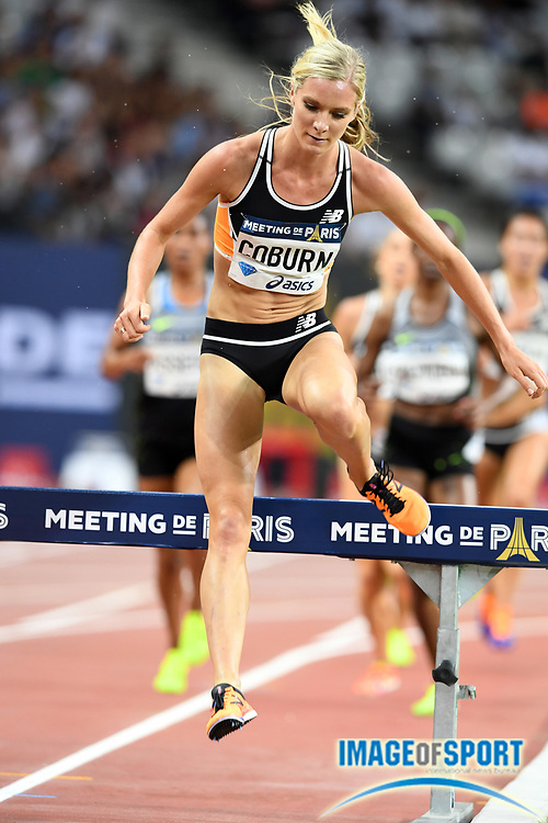 Emma Coburn (USA) places third in the women's steeplechase in 9:10.19 in the Meeting de Paris during a IAAF Diamond League track and field meet at Stade de France in Saint-Denis, France on Saturday, Aug. 28, 2016. Photo by Jiro Mochizuki