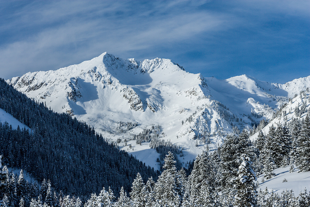 Saviers Peak at 10441 ft / 3182 m is the tallest peak in the Smokey Mountains in Central Idaho viewed here on a winter morning. Licensing and Open Edition Prints.