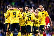 Romelu Lukaku (#9) of Belgium celebrates Belgium's first goal (0-1) with Belgian teammates during the International Friendly match between Scotland and Belgium at Hampden Park, Glasgow, United Kingdom on 7 September 2018.