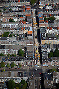 Nederland, Amsterdam, de Pijp, 12-05-2009; Ferdinand Bolstraat, tussen Albert Cuypstraat en Ceintuurbaan (kruispunt onder in beeld). De bouwput in de straat is station Centuurbaan van de Noord/Zuidlijn. Overview from the air on of the construction site of the underground (metro). Digging activities have been stopped now because of the subsidence risk..Swart collectie, luchtfoto (toeslag); Swart Collection, aerial photo (additional fee required).foto Siebe Swart / photo Siebe Swart