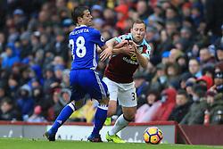 12th February 2017 - Premier League - Burnley v Chelsea - Cesar Azpilicueta of Chelsea stops Scott Arfield of Burnley - Photo: Simon Stacpoole / Offside.