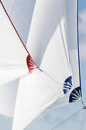 Sail detail of Dr Andrew Pearson's Bojar competing in Cowes during the Panerai British Classic Sailing Week regatta. <br /> Picture date: Monday July 10, 2017.<br /> Photograph by Christopher Ison ©<br /> 07544044177<br /> chris@christopherison.com<br /> www.christopherison.com