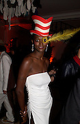 Nadine Willis, Dr. Seuss Cat in the Hat Ball and charity auction in aid of Macmillan cancer relief. Bulgarian Embassy, Exhibition Rd. London. 20 October 2004. ONE TIME USE ONLY - DO NOT ARCHIVE  © Copyright Photograph by Dafydd Jones 66 Stockwell Park Rd. London SW9 0DA Tel 020 7733 0108 www.dafjones.com