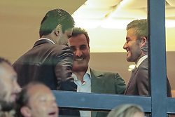 September 18, 2019, Paris, Ile de France, France: Nasser Al-Khelaifi (PSG), Tamim ben Hamad Al Thani (PSG), David Beckham (Credit Image: © Panoramic via ZUMA Press)