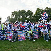 2021-09-08 Parliament Square, London, UK. British colony Indian Ocean territory intimidation take on the entire island expelled all 15,000 defenceless inhabitants of the island some live in the United Kingdom legally. Their families are separated protests to unite with their families in the United Kingdom here. The British are transporting their island as a military base. The British government should give them a place. Boris Johnson, also promises 3 million Hongkonger BNO will the British keep their promise?