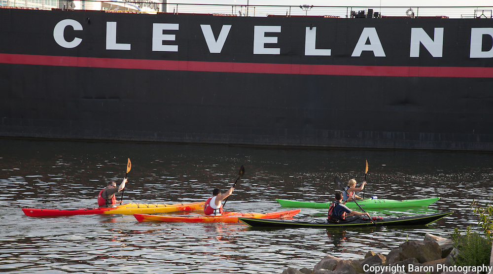 Kayaking on Lake Erie in the Inner Harbor at Cleveland, Ohio
