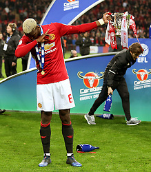Paul Pogba of Manchester United dabs with the EFL Cup  - Mandatory by-line: Matt McNulty/JMP - 26/02/2017 - FOOTBALL - Wembley Stadium - London, England - Manchester United v Southampton - EFL Cup Final