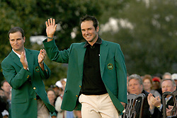 April 14, 2008 - Trevor Immelman acknowledges the crowd during the green jacket presentation after the final round of the Masters tournament at Augusta National Golf Club, Sunday, April 13, 2008, in Augusta, Georgia. (C. Aluka Berry/The State/MCT) (Credit Image: © C. Aluka Berry/MCT/ZUMAPRESS.com)