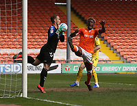 Fleetwood Town's goalkeeper Alex Cairns denies Blackpool's Armand Gnanduillet a goalscoring chance<br /> <br /> Photographer Stephen White/CameraSport<br /> <br /> The EFL Sky Bet League One - Blackpool v Fleetwood Town - Monday 22nd April 2019 - Bloomfield Road - Blackpool<br /> <br /> World Copyright © 2019 CameraSport. All rights reserved. 43 Linden Ave. Countesthorpe. Leicester. England. LE8 5PG - Tel: +44 (0) 116 277 4147 - admin@camerasport.com - www.camerasport.com<br /> <br /> Photographer Stephen White/CameraSport<br /> <br /> The EFL Sky Bet Championship - Preston North End v Ipswich Town - Friday 19th April 2019 - Deepdale Stadium - Preston<br /> <br /> World Copyright © 2019 CameraSport. All rights reserved. 43 Linden Ave. Countesthorpe. Leicester. England. LE8 5PG - Tel: +44 (0) 116 277 4147 - admin@camerasport.com - www.camerasport.com