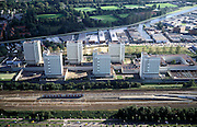 Nederland, Amsterdam, Wenkebachweg, 25-09-2002; Bijlmerbajes (Penitentiaire Inrichtingen Overamstel); in de achtergrond de Duivendrechtsekade, met bedrijventerrein, in de voorgrond de opstelsporen van de Amsterdamse metro langs de Spaklerweg; gevangenis, misdaad, strafinrichting, huis van bewaring, justitie, Gevangenis;<br /> luchtfoto (toeslag), aerial photo (additional fee)<br /> foto /photo Siebe Swart