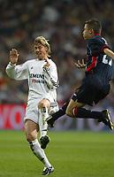 29/2/2004 Madrid, Spain.<br />La Liga (Spanish League) 26 day.<br />R.Madrid 4 - Celta 2<br />R.Madrid's Guti in duel with Celta's Ilic at Santiago Bernabeu's Stadium.
