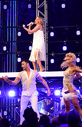 Kylie Minogue performing at the red carpet launch of Strictly Come Dancing 2019, held at BBC TV Centre in London, UK.
