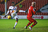 Bradford City forward, on loan from Huddersfield Town, Jordy Hiwula (11) with an air shot during the EFL Sky Bet League 1 match between Walsall and Bradford City at the Banks's Stadium, Walsall, England on 17 December 2016. Photo by Simon Davies.