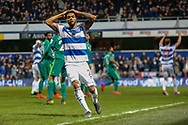 Queens Park Rangers defender Darnell Furlong (2) holds his head after failing to score during The FA Cup 5th round match between Queens Park Rangers and Watford at the Loftus Road Stadium, London, England on 15 February 2019.