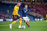 Thorgan Hazard (#16) of Belgium and Callum McGregor (#10) of Scotland during the International Friendly match between Scotland and Belgium at Hampden Park, Glasgow, United Kingdom on 7 September 2018.