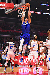 October 19, 2018 - Los Angeles, CA, U.S. - LOS ANGELES, CA - OCTOBER 19: Los Angeles Clippers Forward Danilo Gallinari (8) dunks the ball during a NBA game between the Oklahoma City Thunder and the Los Angeles Clippers on October 19, 2018 at STAPLES Center in Los Angeles, CA. (Credit Image: © Brian Rothmuller/Icon SMI via ZUMA Press)