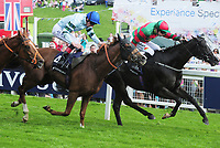 Flat Horse Racing - 2017 Investec Derby Festival - Ladies Day<br /> <br /> Adam Kirby  on Not so sleepy (centre - blue cap ) wins the 15: 45 Investec Wealth and Investment, ahead of Innocent touch at Epsom Racecourse.<br /> <br /> COLORSPORT/ANDREW COWIE