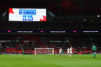 A general view of Wembley Stadium, venue for the match<br /> <br /> Photographer Stephanie Meek/CameraSport<br /> <br /> FIFA Women's World Cup Qualifying Group D - England Women v Northern Ireland Women - Saturday 23rd October 2021 - Wembley Stadium - London<br /> <br /> World Copyright © 2021 CameraSport. All rights reserved. 43 Linden Ave. Countesthorpe. Leicester. England. LE8 5PG - Tel: +44 (0) 116 277 4147 - admin@camerasport.com - www.camerasport.com