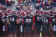 Oct 27, 2012; Little Rock, AR, USA; The Arkansas Razorback team before a game against the Ole Miss Rebels at War Memorial Stadium. Ole Miss defeated Arkansas 30-27. Mandatory Credit: Beth Hall-US PRESSWIRE