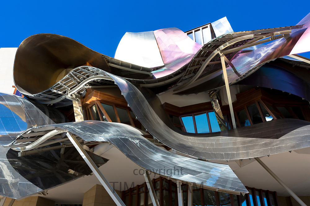 Hotel Marques de Riscal Bodega, futuristic curved design by architect Frank O Gehry, at Elciego in Rioja-Alavesa area of Spain