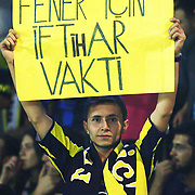 "Fenerbahce's supporter showing""The time to pride for Fenerbahce"" banner during their Turkish Super Cup 2012 soccer derby match Galatasaray between Fenerbahce at the Kazim Karabekir stadium in Erzurum Turkey on Sunday, 12 August 2012. Photo by TURKPIX"