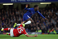 Jack Hobbs of Nottingham Forest (L) tackles Michy Batshuayi of Chelsea (R). Carabao Cup 3rd round match, Chelsea v Nottingham Forest at Stamford Bridge in London on Wednesday 20th September 2017.<br /> pic by Steffan Bowen, Andrew Orchard sports photography.
