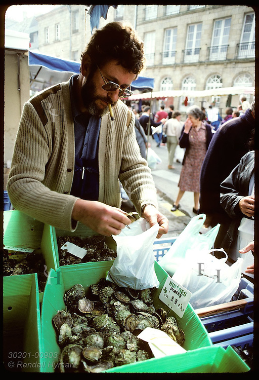 Louis Germain, seafood vendor, fills a bag with European flat oysters for a customer; Auray. France