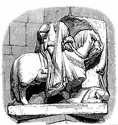 Damaged statue of William of Normandy (William I of England, the Conqueror) 1027-1087 against a pillar in St Etienne (St Stephen), Caen, the abbey he founded and where he was buried. Engraving .