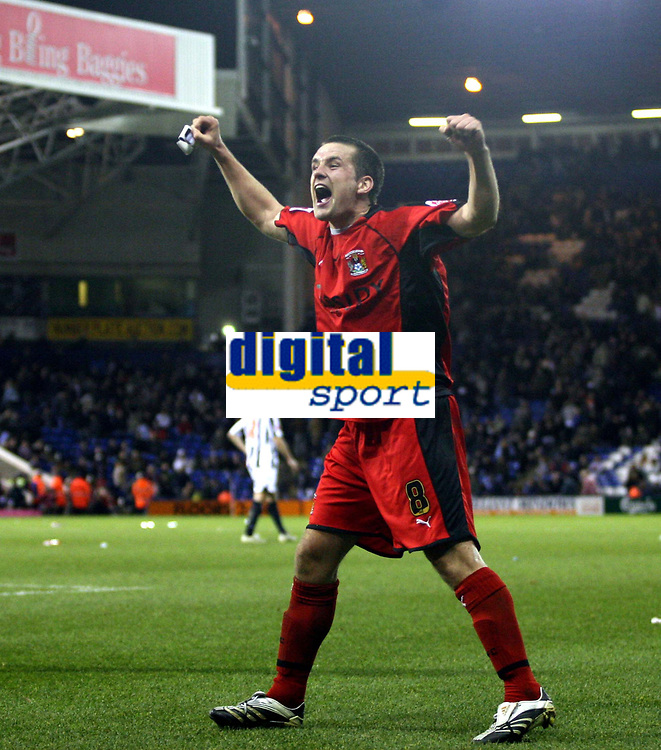 Photo: Mark Stephenson/Sportsbeat Images.<br /> West Bromwich Albion v Coventry City. Coca Cola Championship. 04/12/2007.Coventry's Michael Doyle celebrates Michael Mifsud's goal with the fans  for 4-2