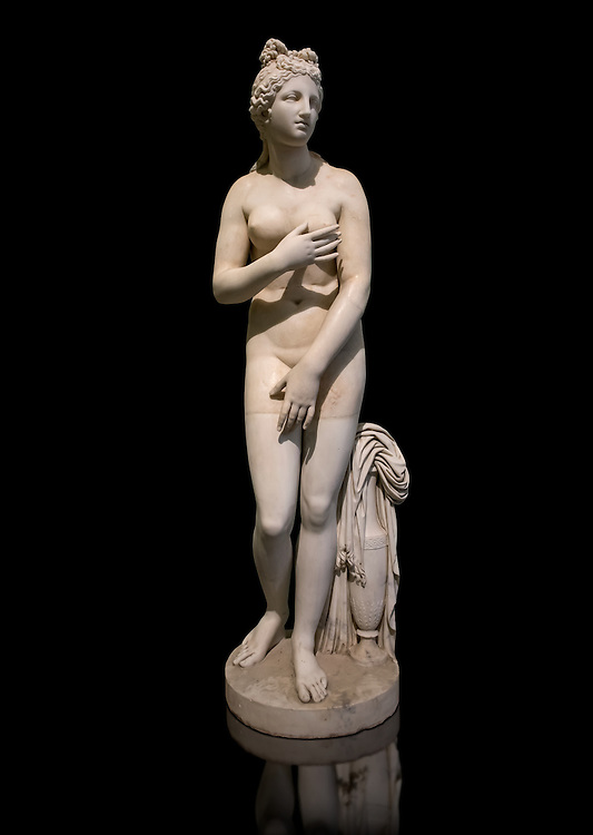 Statue of Aphrodite, a 2nd century Roman Copy. This sculpture depicts Aphrodite in the typical pose known as the Modest Aphrodite style or Dresden-Capitoline type and is a copy of a lost 4th century BC Aphrodite of Cnidos sculpture by Athenian sculpture Praxiteles. Farnese Collection, Naples  National Archaeological Museum, Italy ..<br /> <br /> If you prefer to buy from our ALAMY STOCK LIBRARY page at https://www.alamy.com/portfolio/paul-williams-funkystock/greco-roman-sculptures.html . Type -    Naples    - into LOWER SEARCH WITHIN GALLERY box - Refine search by adding a subject, place, background colour, etc.<br /> <br /> Visit our ROMAN WORLD PHOTO COLLECTIONS for more photos to download or buy as wall art prints https://funkystock.photoshelter.com/gallery-collection/The-Romans-Art-Artefacts-Antiquities-Historic-Sites-Pictures-Images/C0000r2uLJJo9_s0
