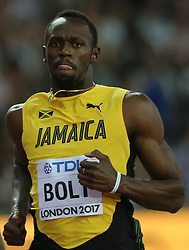 Jamaica's Usain Bolt in the 100m Men's heat six during day one of the 2017 IAAF World Championships at the London Stadium, UK, August 4, 2017. Photo by Giuliano Bevilacqua/ABACAPRESS.COM