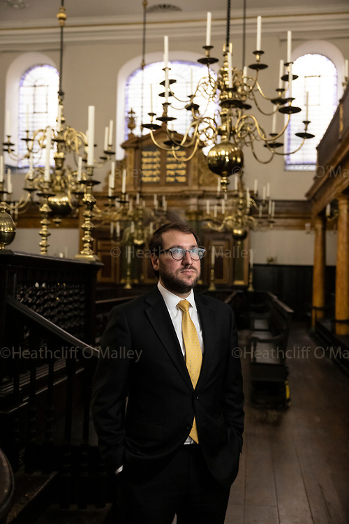 Dow0101691. Daily Telegraph<br /> <br /> Features<br /> <br /> <br /> Rabbi Shalom Morris<br /> <br /> Bevis Marks Synagogue, the oldest synagogue in the United Kingdom in continuous use, off Bevis Marks, Aldgate, in the City of London. <br />  The synagogue was built in 1701 and is affiliated to London's historic Spanish and Portuguese Jewish community.<br /> <br /> <br /> <br /> <br /> <br /> <br /> 14 September 2021